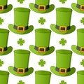 Green leprechaun hat seamless pattern a st patricks or saint patrick s day with a cartoon on white background eps file available Royalty Free Stock Photo