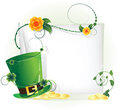 Green leprechaun hat and sheet of white paper Royalty Free Stock Photos
