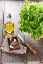 Green lettuce on rustic wooden background oakleaf and condiment over Stock Photo