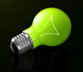 The green light bulb d generated picture of a Stock Image