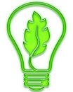 Green light bulb with leaf Royalty Free Stock Photo
