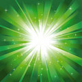 Green light burst with stars Royalty Free Stock Photos