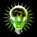 Green Lightbulb Head Royalty Free Stock Photography
