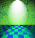 Green lightened grunge room checkered floor Stock Photography