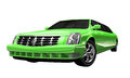 Green limousine a d model of a Royalty Free Stock Photo