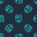 Green Line Mexican Mayan Or Aztec Mask Icon Isolated Seamless Pattern On Blue Background. Vector