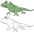 Green little lizard cartoon spotty with the big eyes Royalty Free Stock Image