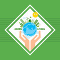Green living city illustration