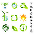 Green Living Icon Set Royalty Free Stock Images