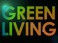 Green Living Sign Lit with Leds in a funky style Royalty Free Stock Photos