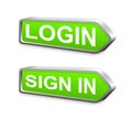 Green login metal arrow button Royalty Free Stock Photo