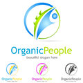 Green logo eco organic people illustration Royalty Free Stock Image