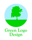 Green logo with tree vector illustration Royalty Free Stock Photos