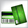 Green loyalty card design front and back with world map barcode Royalty Free Stock Photo