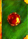 Green magic book fantasy cover with bloody red gem in the middle and golden corners digital art Stock Photos