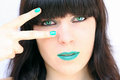 The green make up digiart a young pretty woman with Stock Image