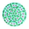 Green mandala symbol concept, flower floral, watercolor painting