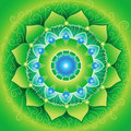 Green mandlala of anahata chakra Stock Images