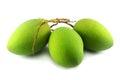Green mango on white background Royalty Free Stock Images