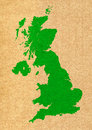 Green map of united kingdom on carton background texture Stock Images