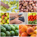 Green market collage of products and hand with money and wallet Royalty Free Stock Image