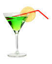 Green martini and lemon Royalty Free Stock Photography