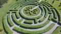 Green maze a garden, aerial view Royalty Free Stock Photo