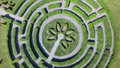 Green maze a garden, aerial view Royalty Free Stock Photo