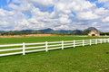 Green meadow with blue sky and white fence Royalty Free Stock Photo