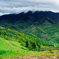 Green meadow in the mountains with fence Royalty Free Stock Photo