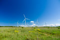 Green meadow with wind turbines generating electricity wide view Royalty Free Stock Photo