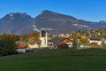 Green meadows and typical Switzerland village near town of interlaken, Switzerland Royalty Free Stock Photo