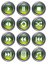 Green Media Buttons Stock Image
