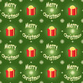 Green merry christmas pattern seamless with presents Stock Images