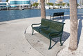Green metal benches in Sarasota Royalty Free Stock Photo