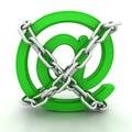 Green metallic AT symbol chains Royalty Free Stock Photo