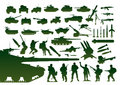 Green military silhouettes Stock Images
