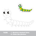 Green millipede to be traced. Vector trace game.
