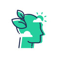 Green Mind - modern vector single line icon Royalty Free Stock Photo