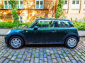 green Mini car in Luebeck hdr