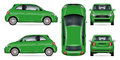 Green mini car vector illustration. Royalty Free Stock Photo
