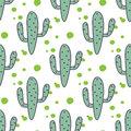 Green mint cactuses vector seamless pattern.