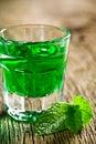 Green mint liquor Royalty Free Stock Photo