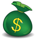 Green money bag with dollar sign on white background. Royalty Free Stock Photo