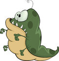 Green monster cartoon the darling with a teeth darkly worm Stock Photography