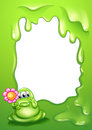 A green monster with a flower in front of an empty template illustration Stock Images