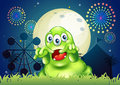 A green monster scaring at the amusement park illustration of Royalty Free Stock Photos