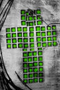 Green mosaic Christian cross Stock Image