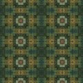 Green mosaic with floral motive in ancient style brown Royalty Free Stock Image