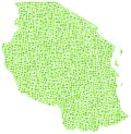 Green mosaic map of Tanzania Royalty Free Stock Images